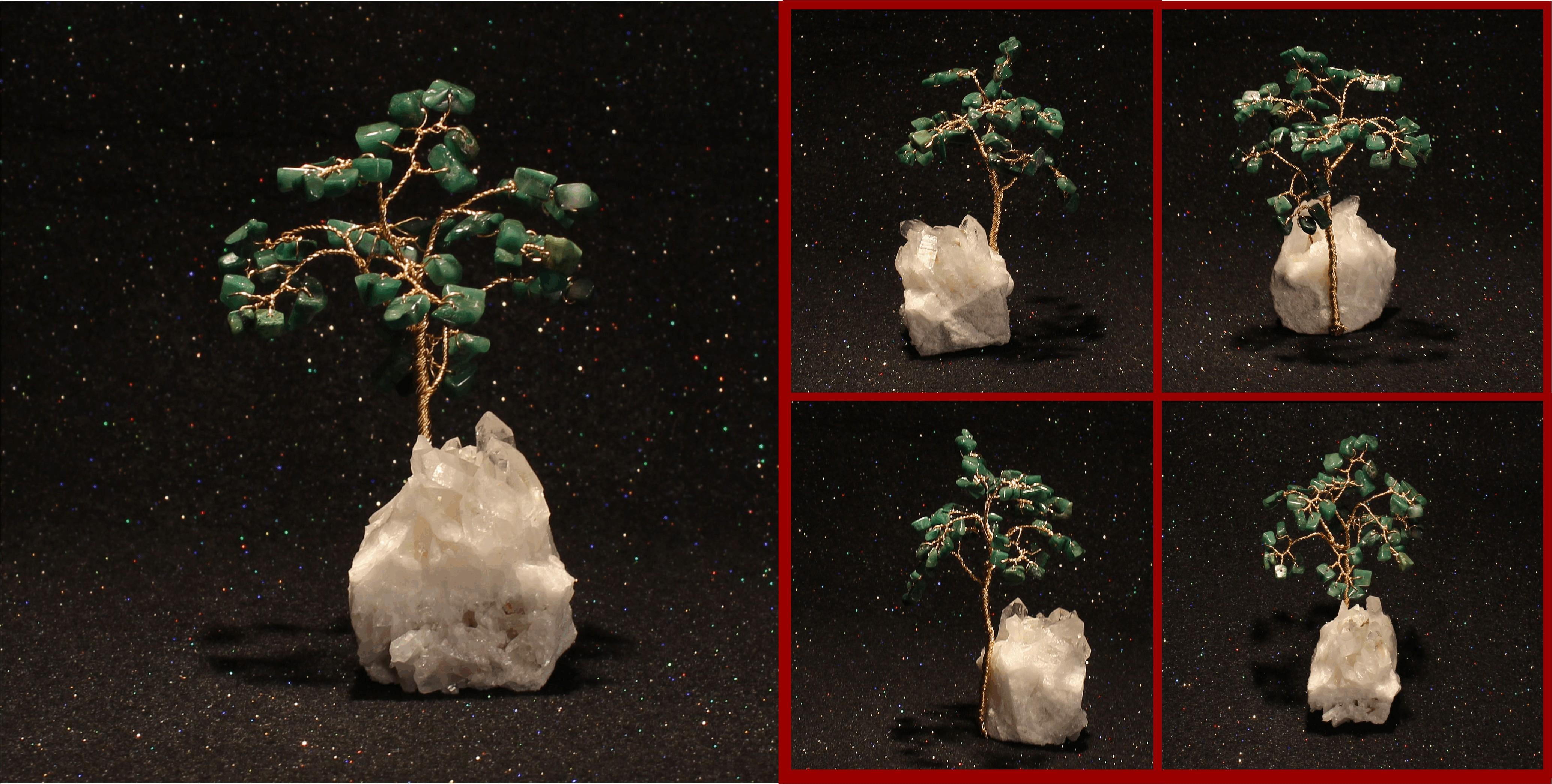 african jade MINI on quartz cluster 1