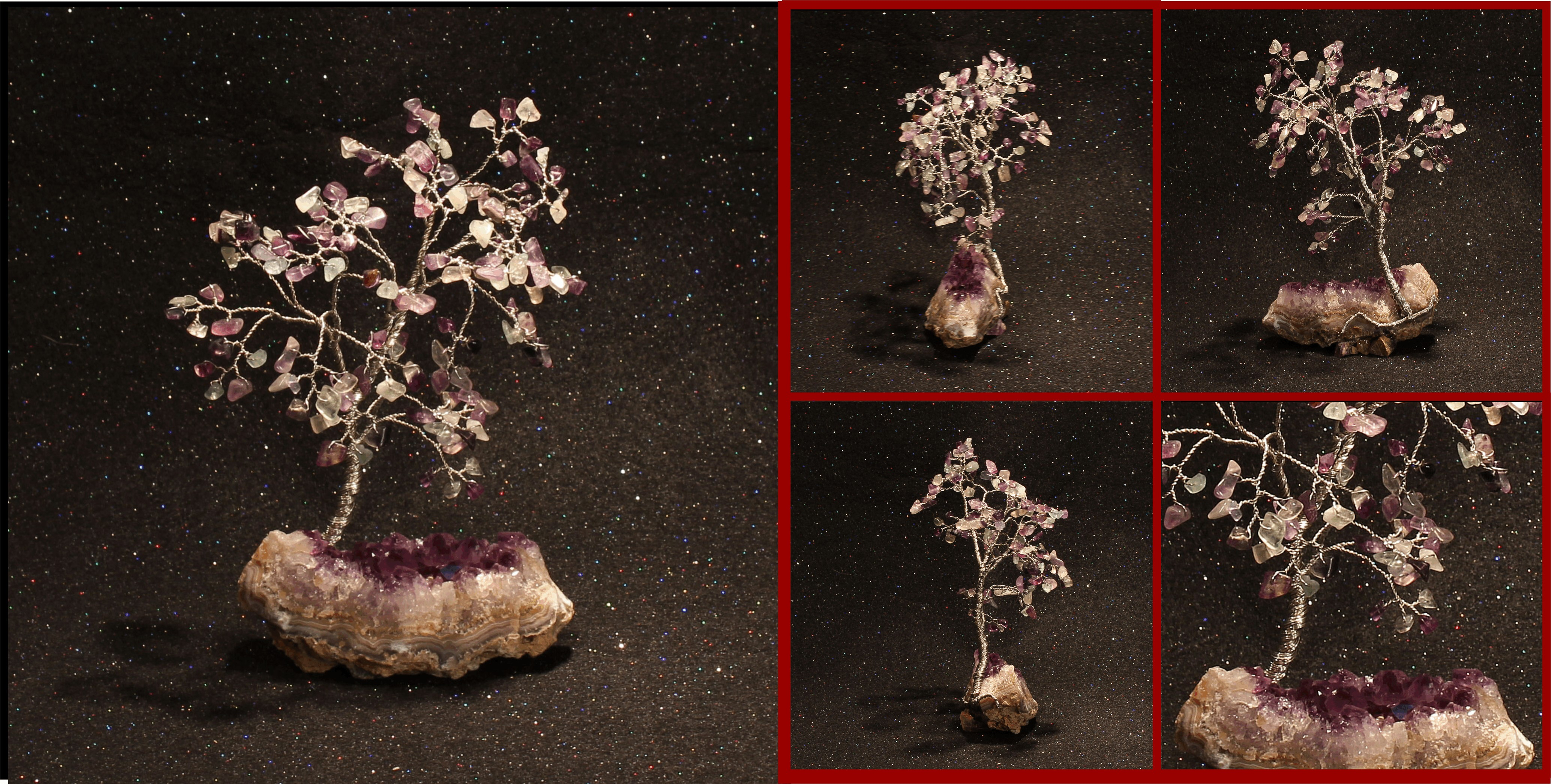 Flluorite on Natural Amethyst Geode Wedge 1