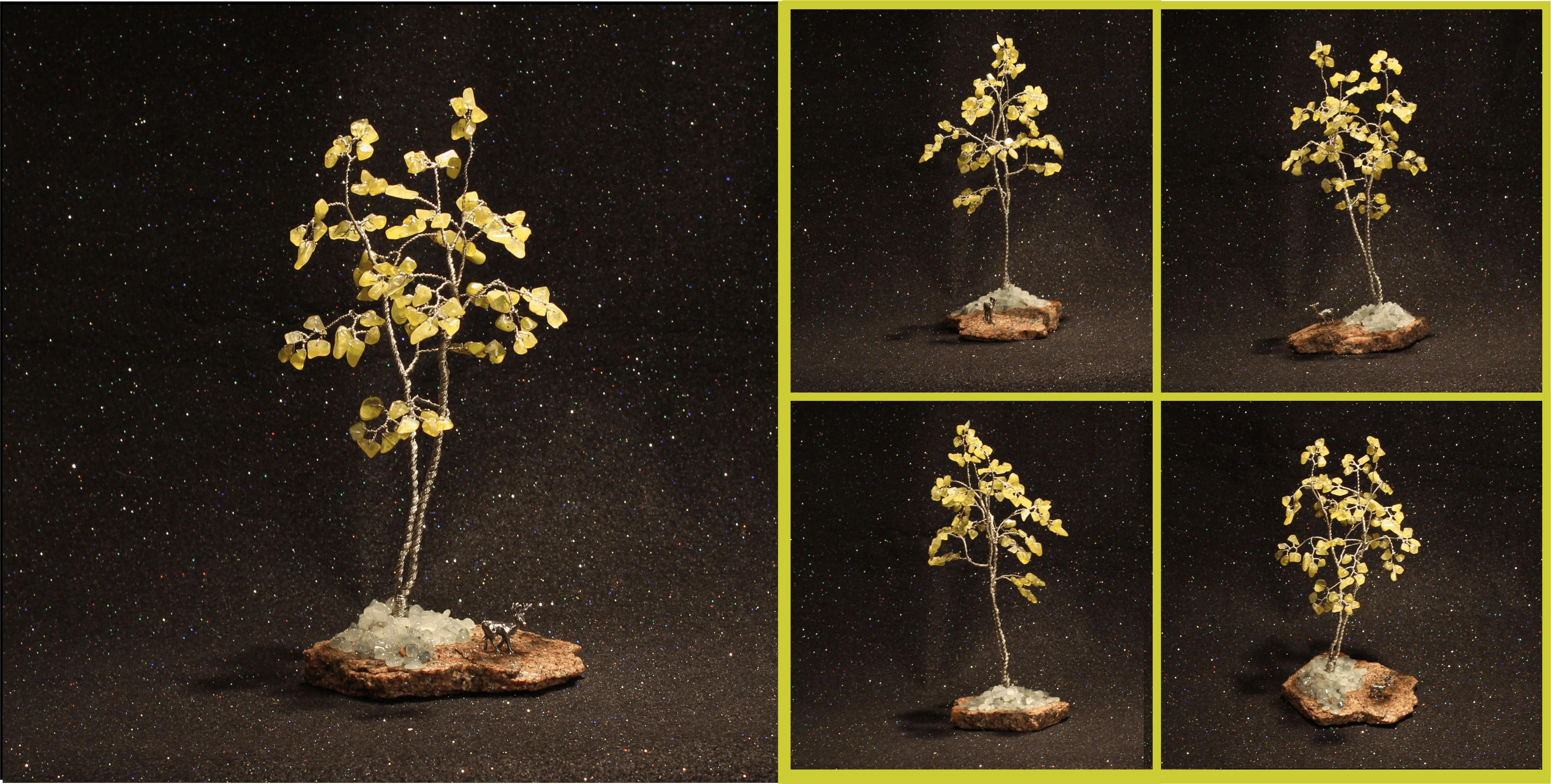 Lemon Yellow Jade Birch on Red Granite 1